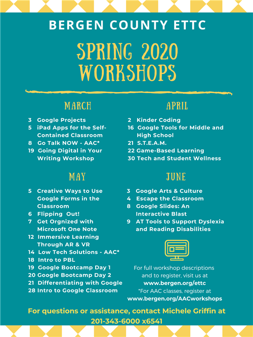 Spring 2020 Workshop Summary Flyer